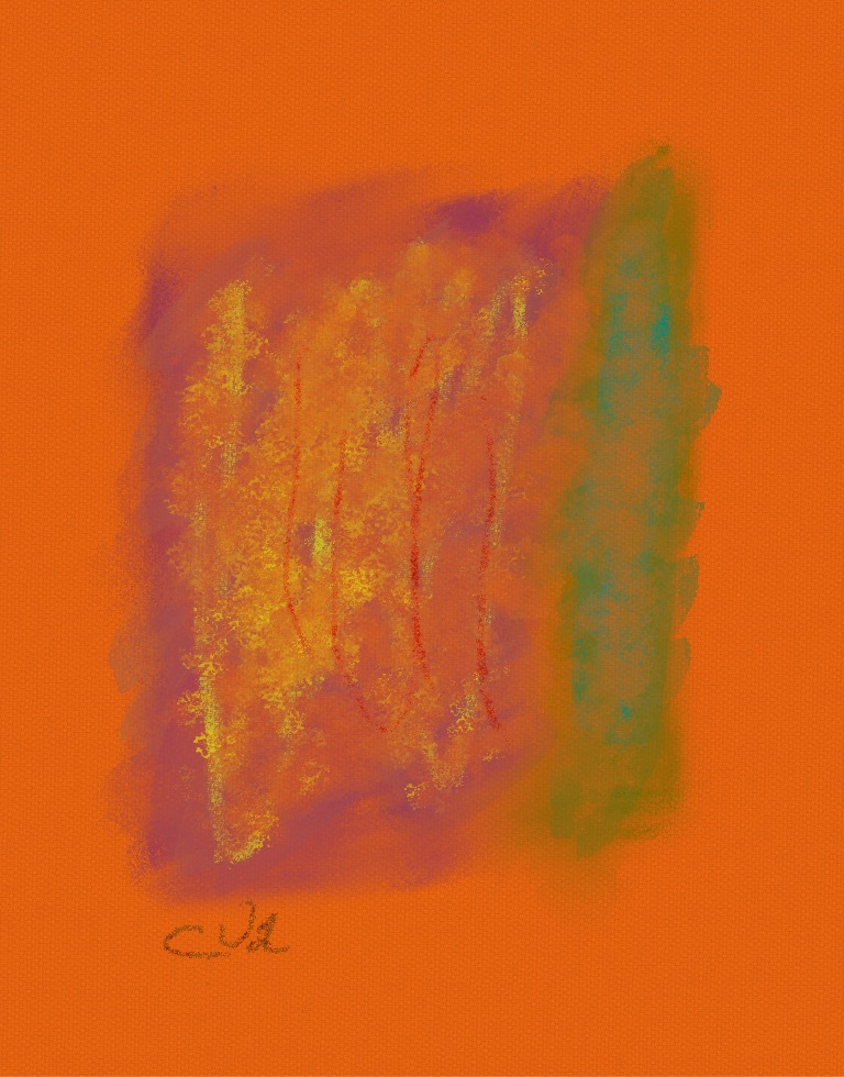 Orange Scape Abstract Painting