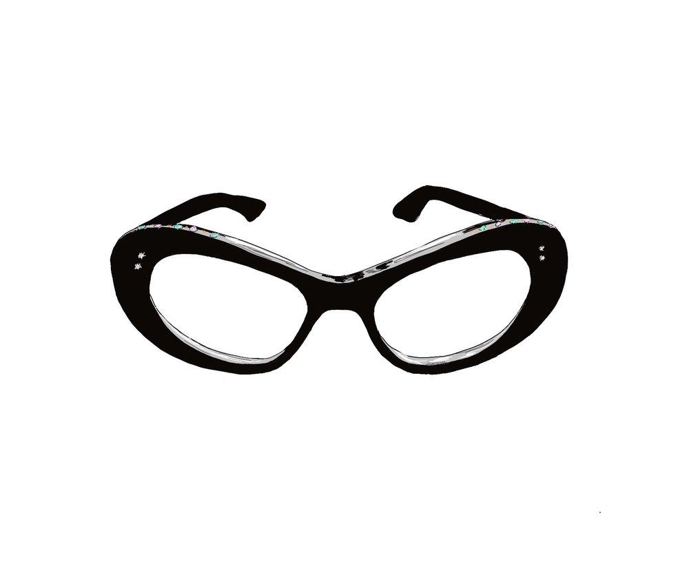 1960's Vintage Cat Eye Glasses with Crystal Embellishment