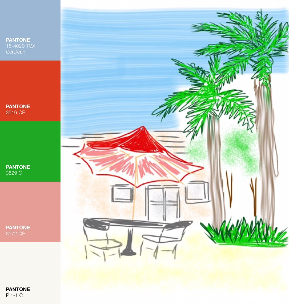Outdoor Cafe via Art Studio App with Pantone Color Palette