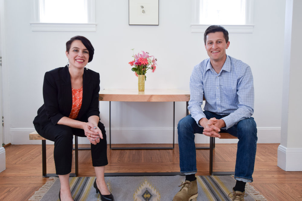 Co-founders Sandra Lupien and Sam Schabacker, with the first SapphirePine dining table and bench set