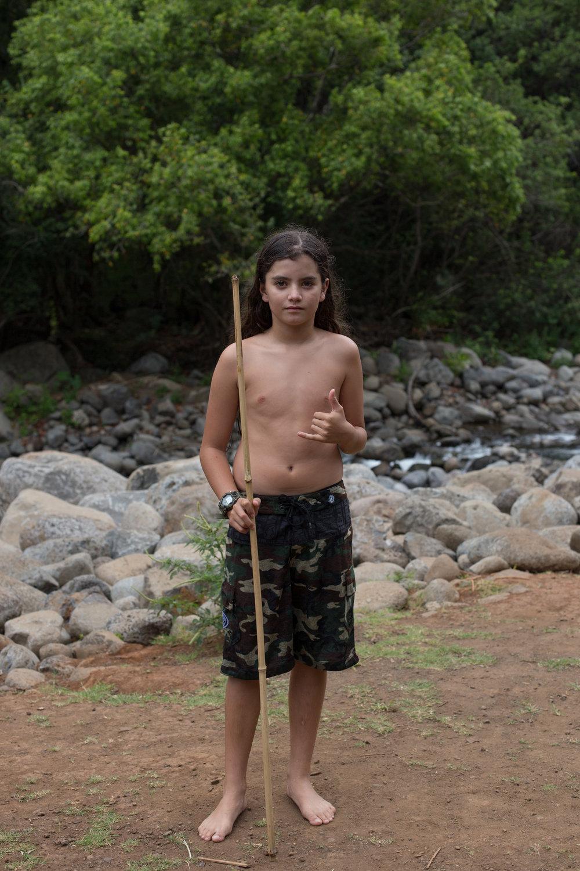 Kainoa with a Walking Stick