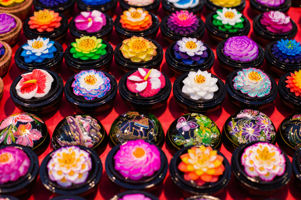 Hand-carved and painted flower soaps