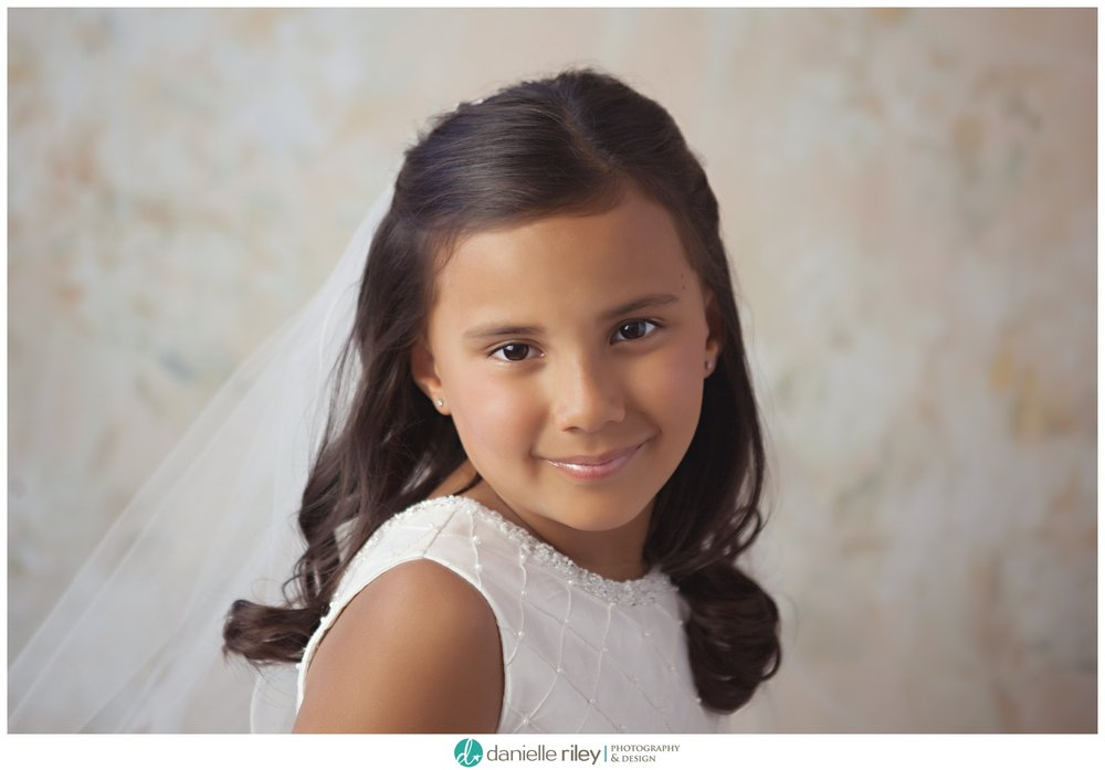 First Holy Communion Portrait Session Beautiful Dress and Veil NJ