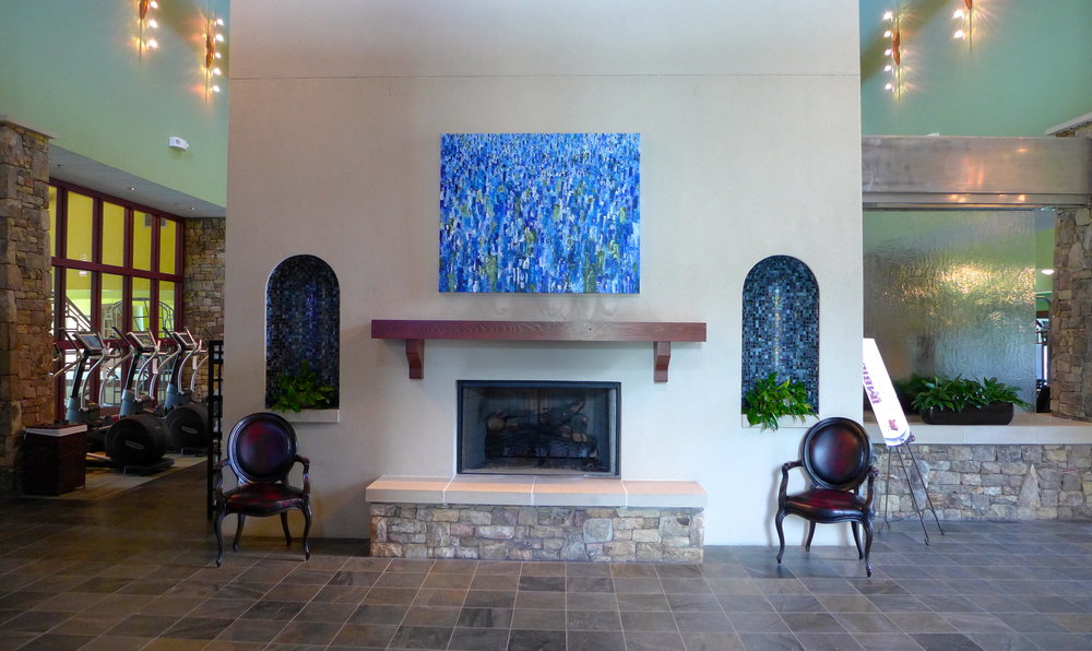 "the cliffs at walnut cove, arden nc  ""revolution"", an oil on canvas painting, is on display and available for purchase"