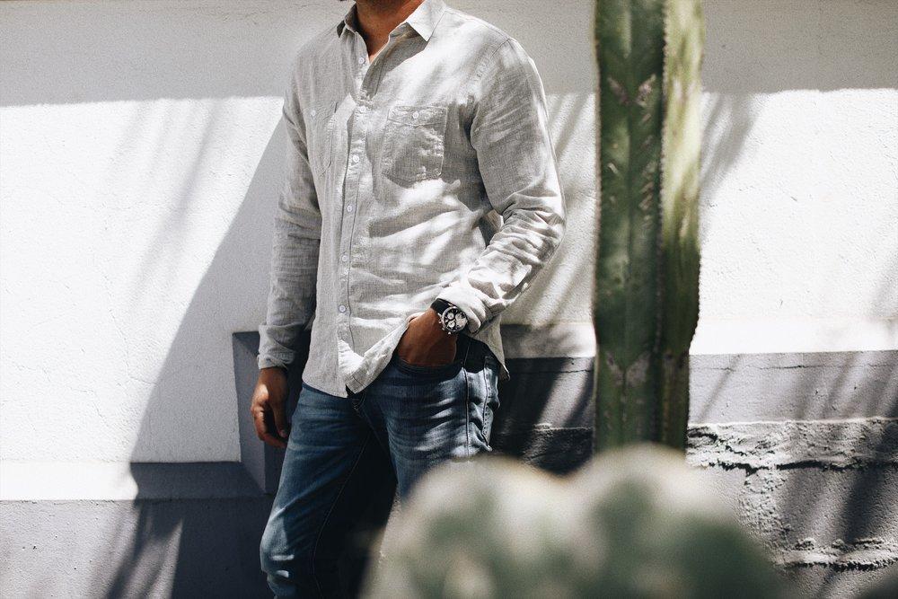Linen-Blend Shirt by EXPRESS