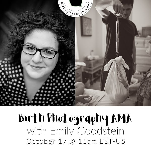Bring is ALL your questions. Are you a newbie just getting started or a pro with years of experience? This is your chance to get answers to birth photography questions that you'd always wondered about. What kind of snacks and lenses to bring? We got you covered. Unsure about contracts or marketing? Tune in!  Link in profile ☝️👆😁 @emilygoodstein is a native Washingtonian, sweatpants enthusiast, marketing consultant and a photographer. She especially loves photographing birth. When she's not behind the camera or meeting with a client, Goodstein can be found working on her third book, No Access DC (Globe Peqouot Press), or Instagramming photos of her adventures inside the Beltway and beyond.  #birthbusinesschat #teachingtuesdays #birthphotographyeducation #birthphotographer