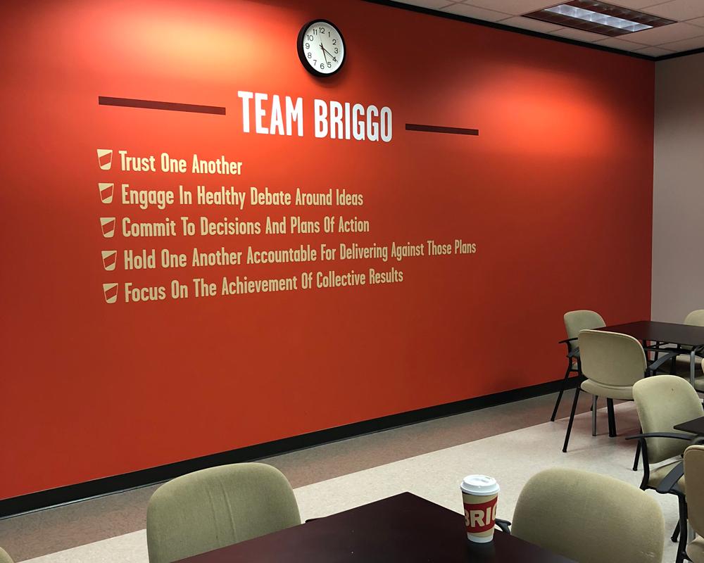Team Briggo Goals Painted In Their Break Room