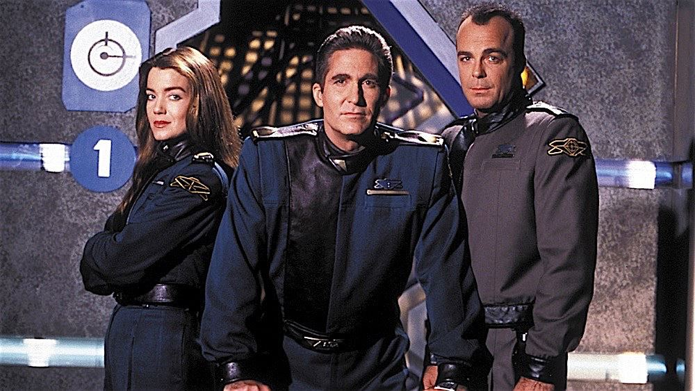 Lt. Cdr. Ivanova, Cdr. Sinclair, and CWO Garibaldi in a promotional shot for Babylon 5