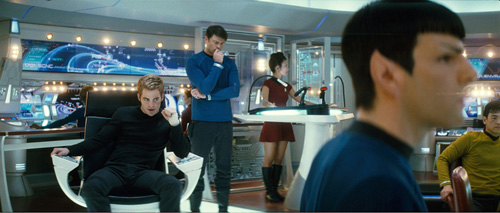 Acting First Officer Kirk, Dr McCoy, Unnamed Crewwoman, Acting Captain Spock, and Lieutenant Sulu during the Star Trek reboot. I have so many complaints.