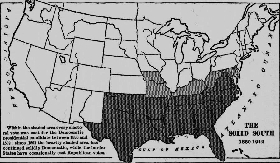 This media file is in the   public domain  in the  United States . This applies to U.S. works where the copyright has expired, often because its first  publication occurred prior to January 1, 1923. Image retrieved from Wikipedia:https://commons.wikimedia.org/wiki/File:Solid_South_1880_to_1912.jpg