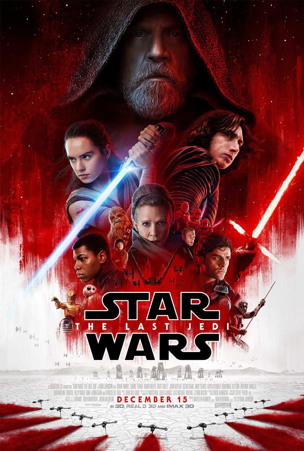 This is a poster for Star Wars: The Last Jedi. The poster art copyright is believed to belong to the distributor of the film, Walt Disney Studios Motion Pictures, the publisher, Lucasfilm, or the graphic artist.