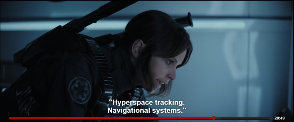 The scene in  Rogue One: A Star Wars Story  where Jyn Erso and Captain Cassian Andor where they come across Hyperspace Tracking. Screenshot from the Netflix.