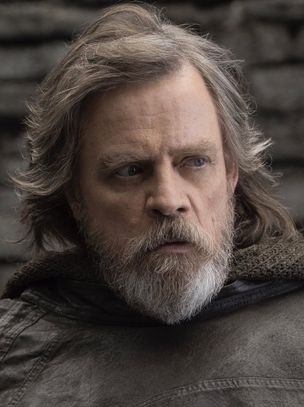 This is a copyrighted promotional image of Luke Skywalker. It is believed that the copyright holder has granted permission for use under the fair use provision of United States copyright law. Source:  http://www.wdsmediafile.com/walt-disney-studios/TheLastJedi/photos/  via Wookieepedia
