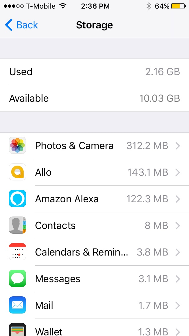iPhone storage menu