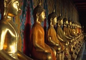 Row of Buddha figures, Wat Arun, Bangkok, Thailand
