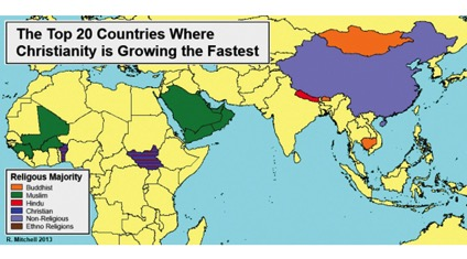 20 Countries where Christianity growing fastest