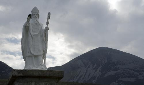 Statue of Saint Patrick at the base of Ireland's Holy Mountain named after him, Croagh