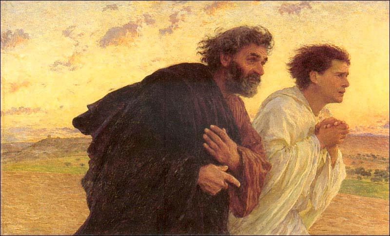 Peter and John Running to the tomb on the Morning of the Resurrection, Eugene Burnand  c.1898.