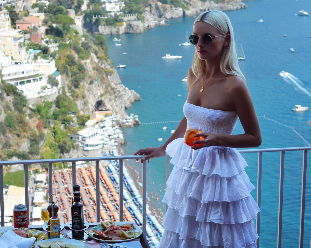 APEROL SPRITZ ABOVE POSITANO IN MY AMAFLI PURCHASES