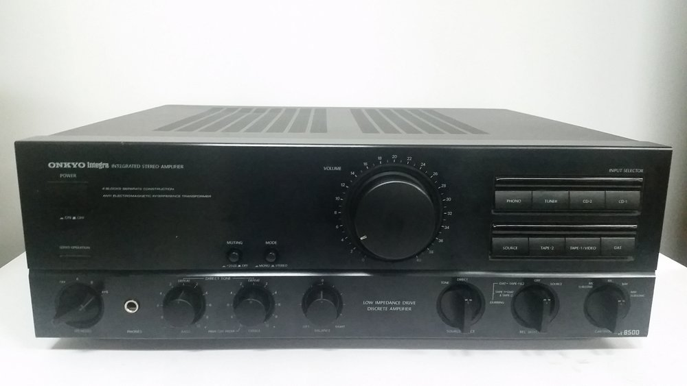 Onkyo Integra A-8500 integrated stereo amplifier    Specifications   Power output: 80 watts per channel into 8Ω (stereo)  Frequency response: 2Hz to 50kHz  Total harmonic distortion: 0.008%  Damping factor: 150  Input sensitivity: 0.16mV (MC), 2.5mV (MM), 150mV (line)  Signal to noise ratio: 74dB (MC), 93dB (MM), 107dB (line)  Output: 150mV (line)  Dimensions: 435 x 157 x 391mm  Weight: 12.5kg   $385