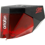 Ortofon 2m red stylus and cartridge   The 2M series of cartridges features Ortofon's trademark split pole pins, an invention that enables moving magnet cartridges to have a flat frequency response, as with a moving coil cartridge. $169..
