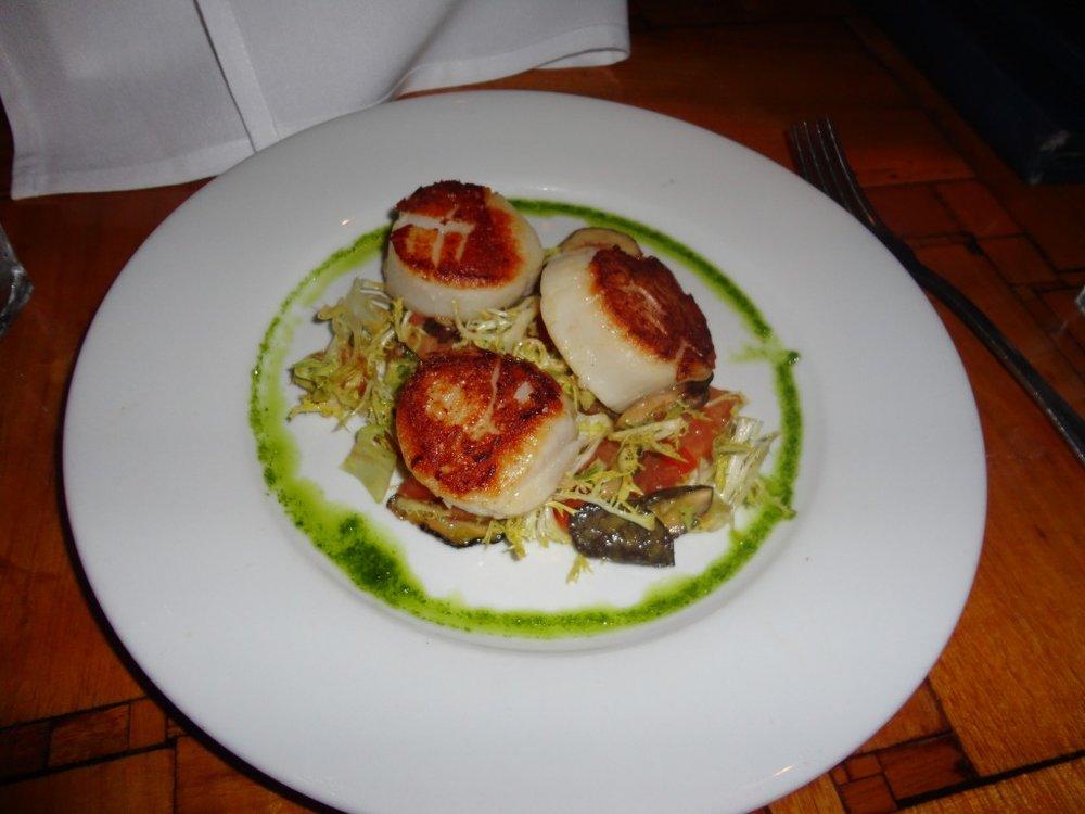 Pan Seared East Coast Seared Scallops: Fresh Tomatoes, Frisee, Shitake Mushrooms, Lemon Dressing