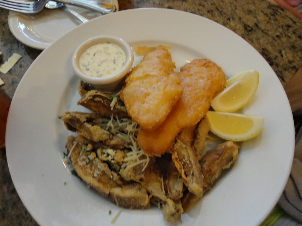 Fish & Chips (with portobello mushroom fries as a substitute to regular fries)