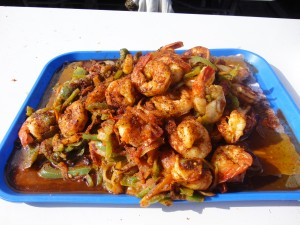Tray of shrimp cooked in their special sauce