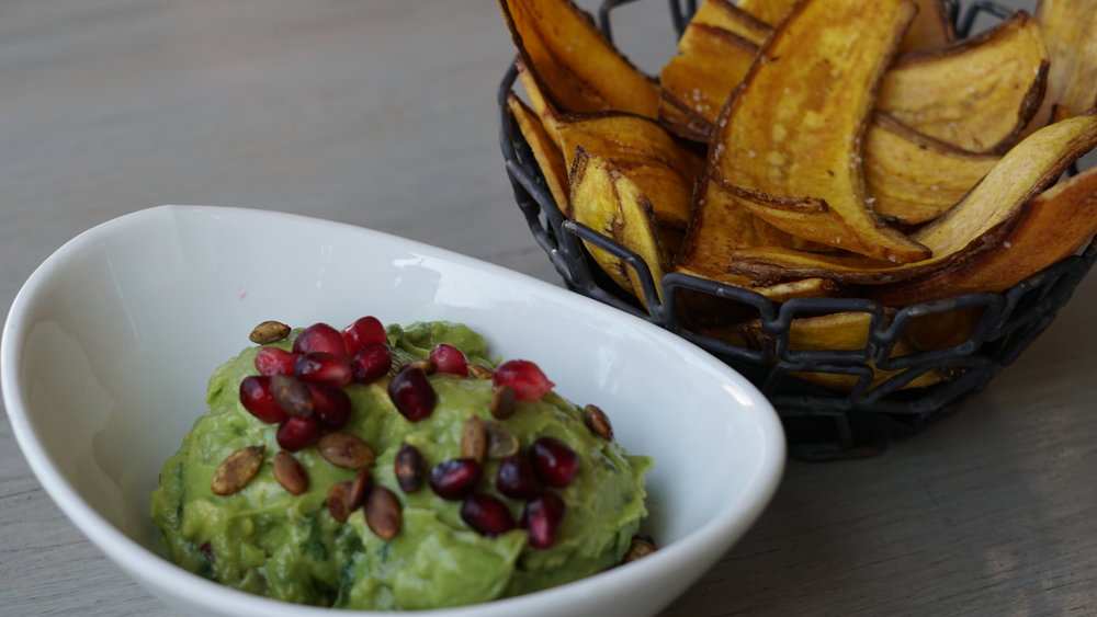 Guacamole and plantain chips