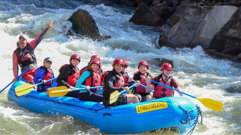 I am in the front right with Heather 2nd back on the left. This trip was awesome and may have gotten us addicted to rafting! Plus look at our guide! He was so cool and his personality made the experience!