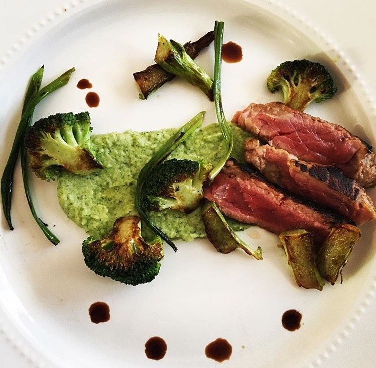 Deconstructed Beef and Broccoli - Broccoli and oyster puree, charred broccoli florets, stems, and green onions, and beef - infused with 30mg/THC per serving.
