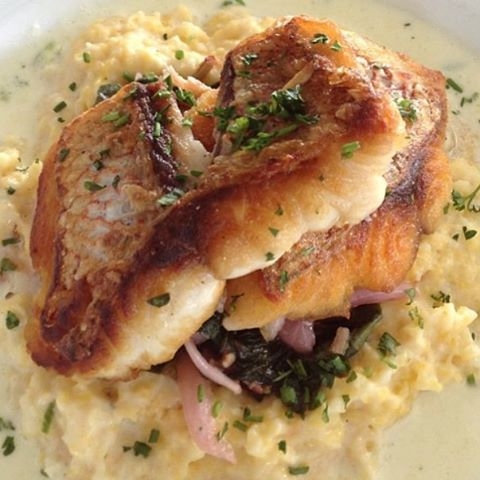 Post-Workout Yumminess: Red Snapper, Cauliflower grits, Pickeled Red Onions, and 50mg/CBD.