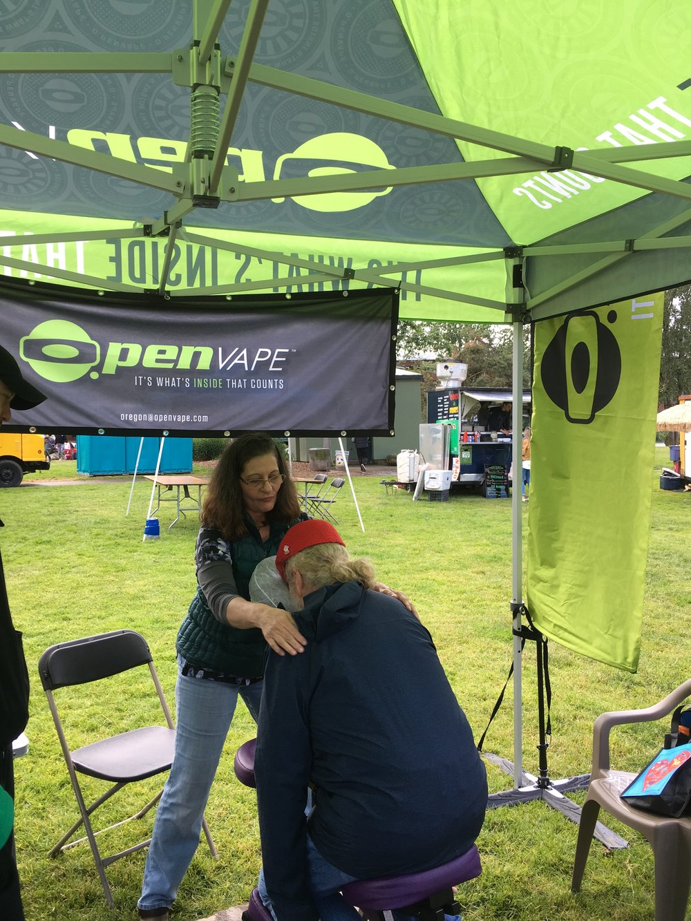 O.pen Vape had a massuese on hand too! Just another day of health and wellness at The 420 Games!