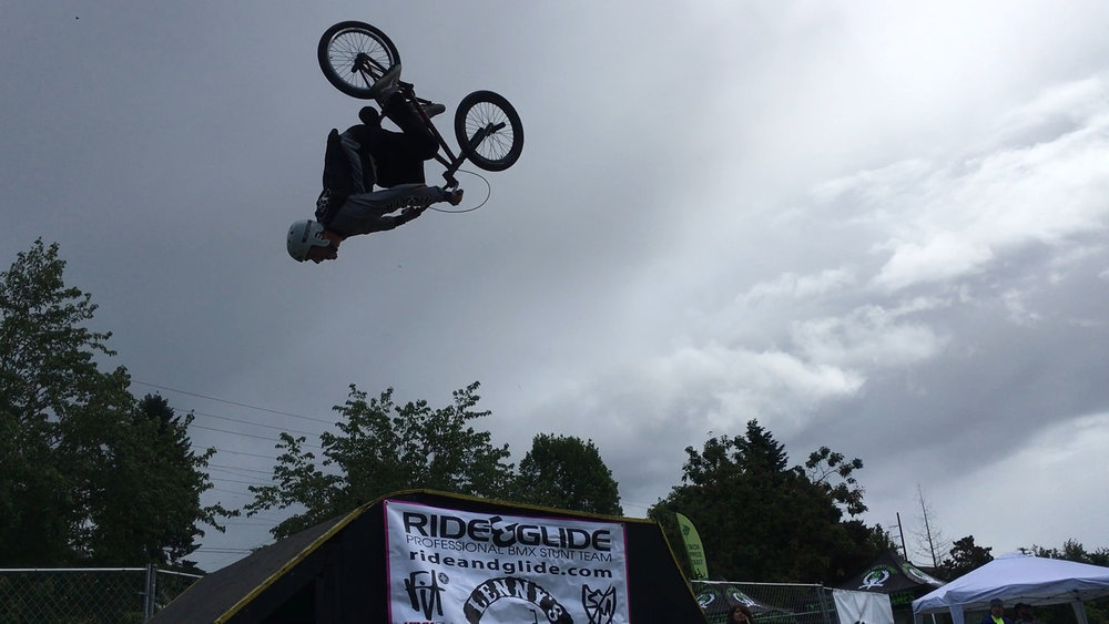 The professional BMX stunt team, Ride & Glide, were out performing some death defying tricks on a slightly slippery ramp! These guys know how to put on a show!