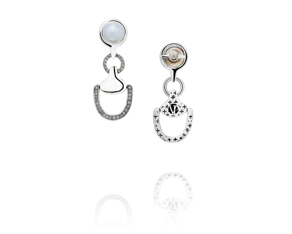 1.65ct Churchill Downs Half-Coverage Diamond Earrings With Fresh Water Pearls in Sterling Silver
