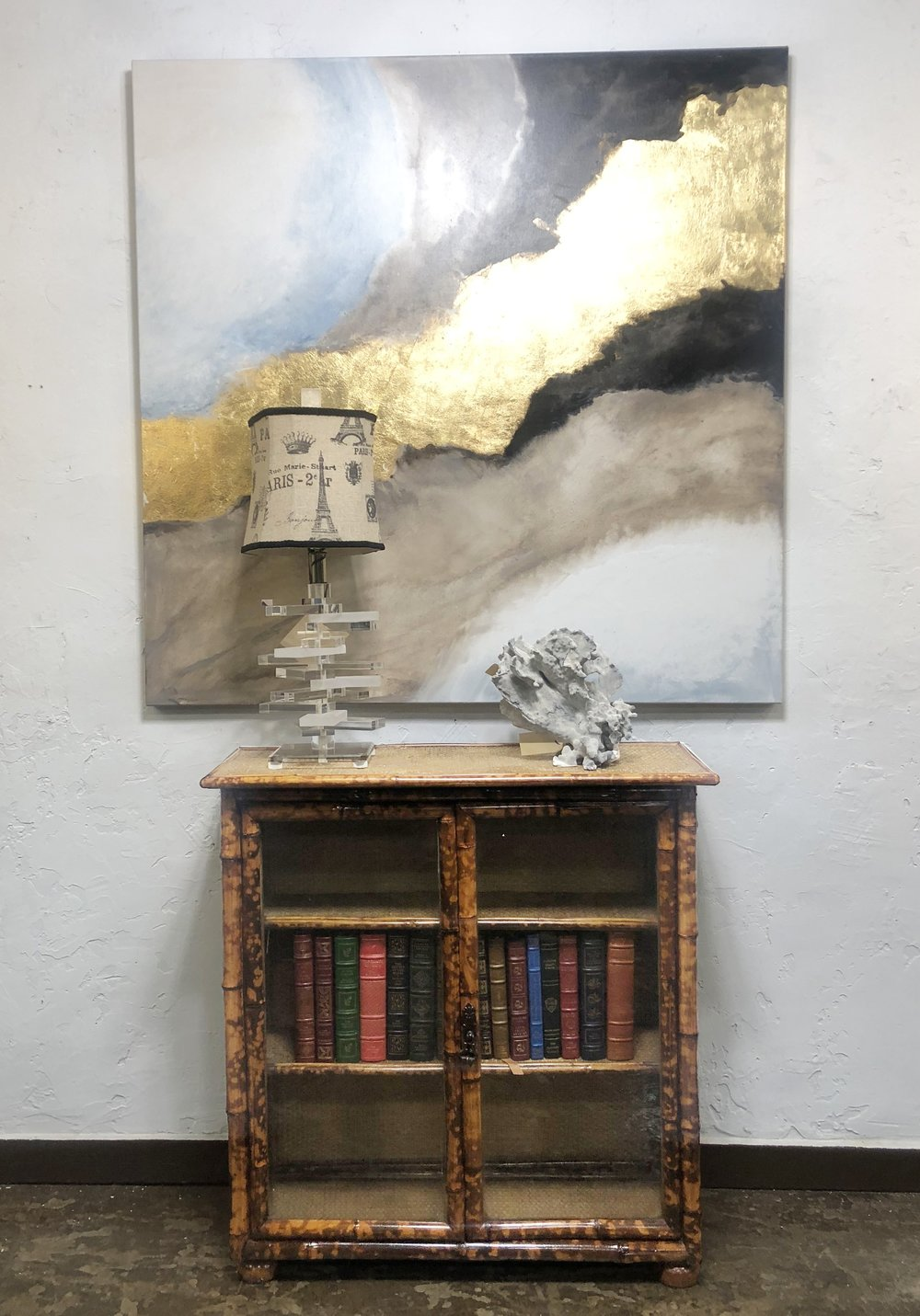 Expressionist Art by Carl Moore with Lucite Lamp, Coral on a European Bamboo Cabinet.jpg