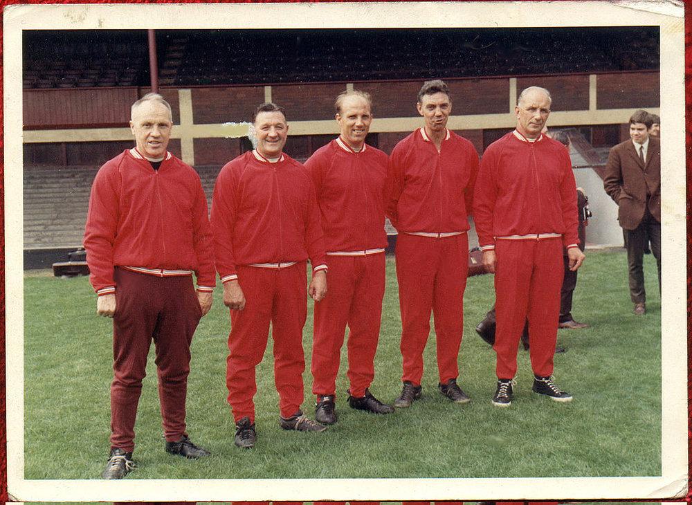 Medlemmerne af det legendariske Boot Room: Bill Shankly, Bob Paisly, Ronnie Moran, Joe Fagan og Reuben Bennett.   Foto: Liverpool FC via Getty Images