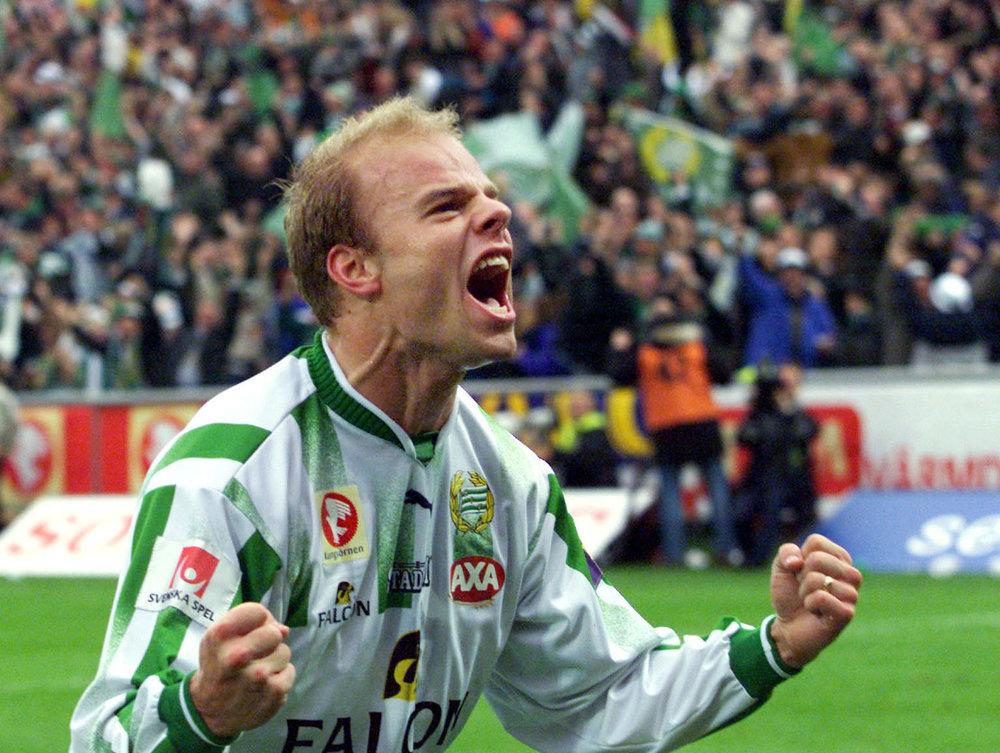 Andreas Hermansson har scoret i en kamp mod Örgryte i mestersæsonen 2001. Foto: Getty Images