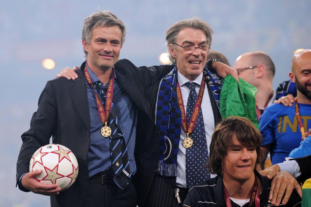 Jose Mourinho og Massimo Moratti efter Champions League-finalen mod Bayern.   Foto: Getty Images