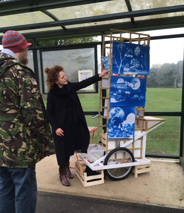 Print artist Vicki Johnson takes her art cart around Ashill