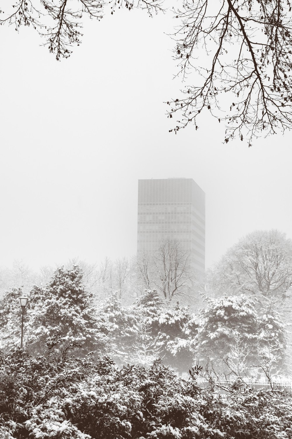 Arts Tower in Snow