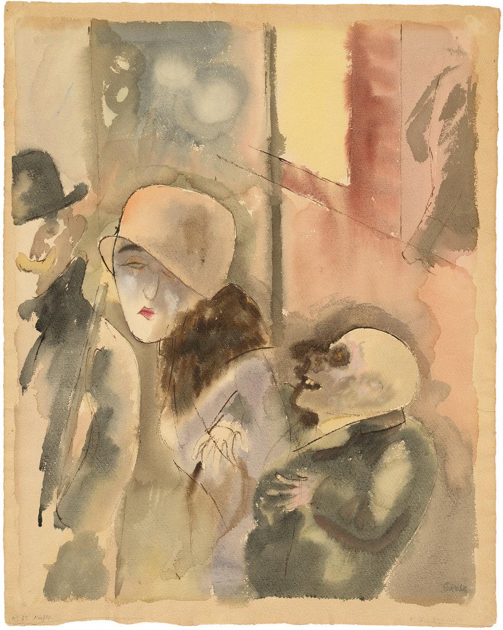 George Grosz, Nachts, Aquarell und Feder, 1916.  George Grosz: © Estate of George Grosz, Princeton, N.J. / VG Bild-Kunst, Bonn.