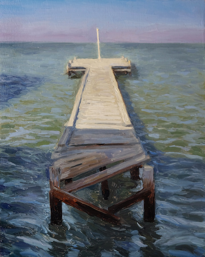 Pavilion Jetty in Shadow, Strand  Oil on panel 25x30cm  Private collection
