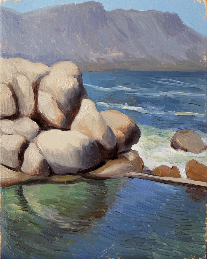 Maiden's Cove Pool, Clifton  Oil on panel 20x25cm  Private collection