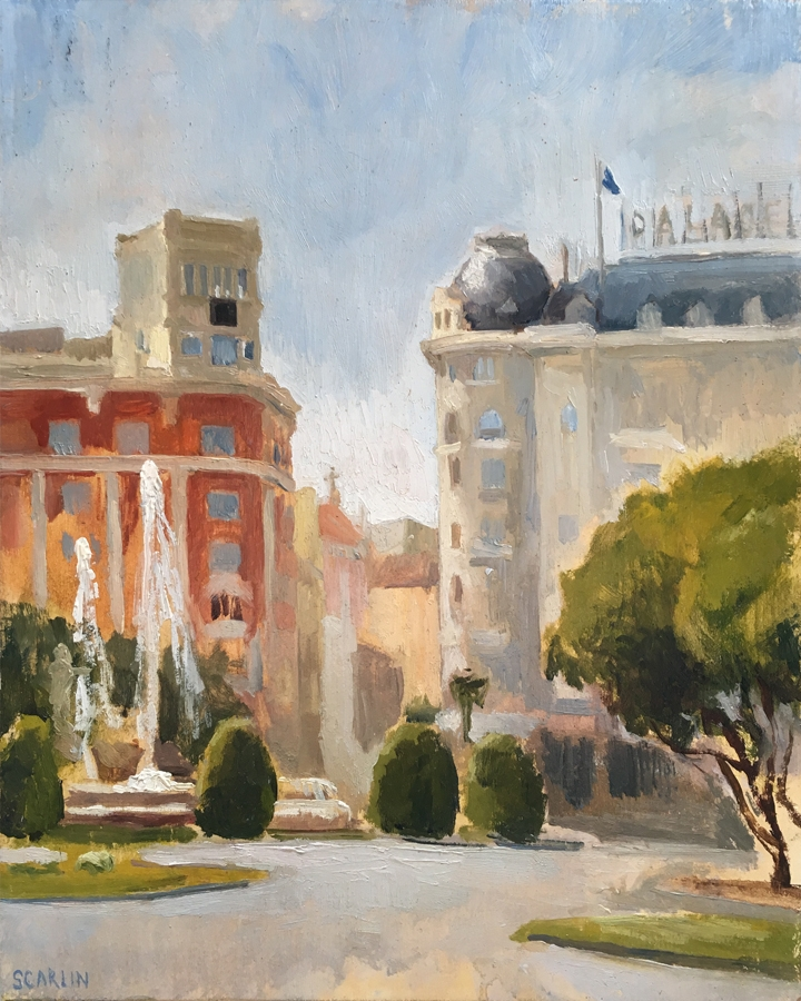 Street sketch, Madrid   Oil on panel   20x25cm    2014    Collection of the artist
