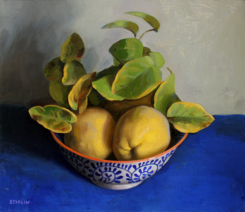 Quinces in a bowl   Oil on panel   30x35cm    2017