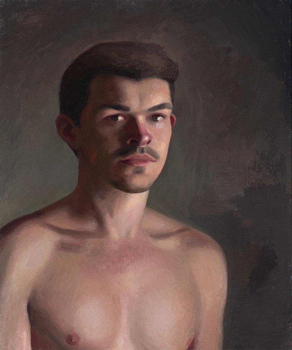 Self-Portrait, Bathroom Mirror   Oil on board   2017   25x30cm