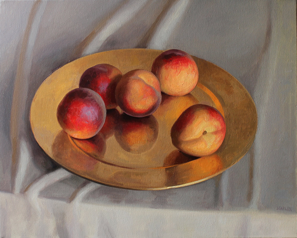 Peaches on a gold plate  Oil on canvas 40x50cm  2018     Available through Otomys art gallery, UK