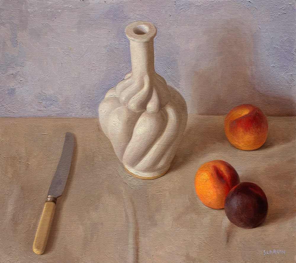 Arrangement with bottle and peaches  Oil on panel 40x45cm  2019   Available through Chandler House