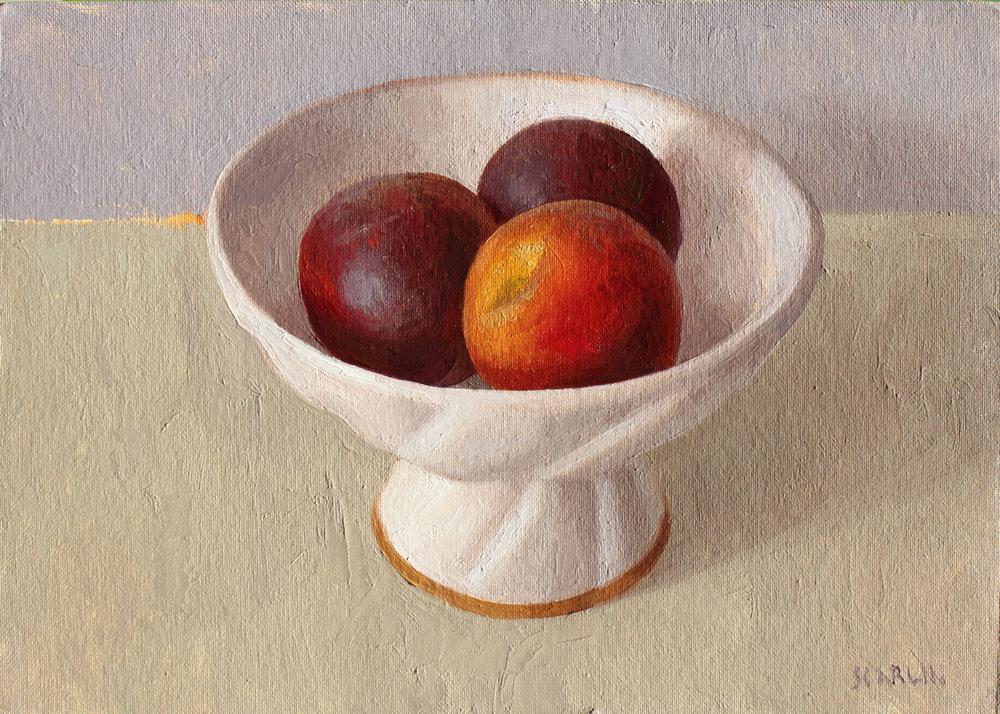 Three peaches  Oil on canvas board 25x35cm  2019   Available through Chandler House